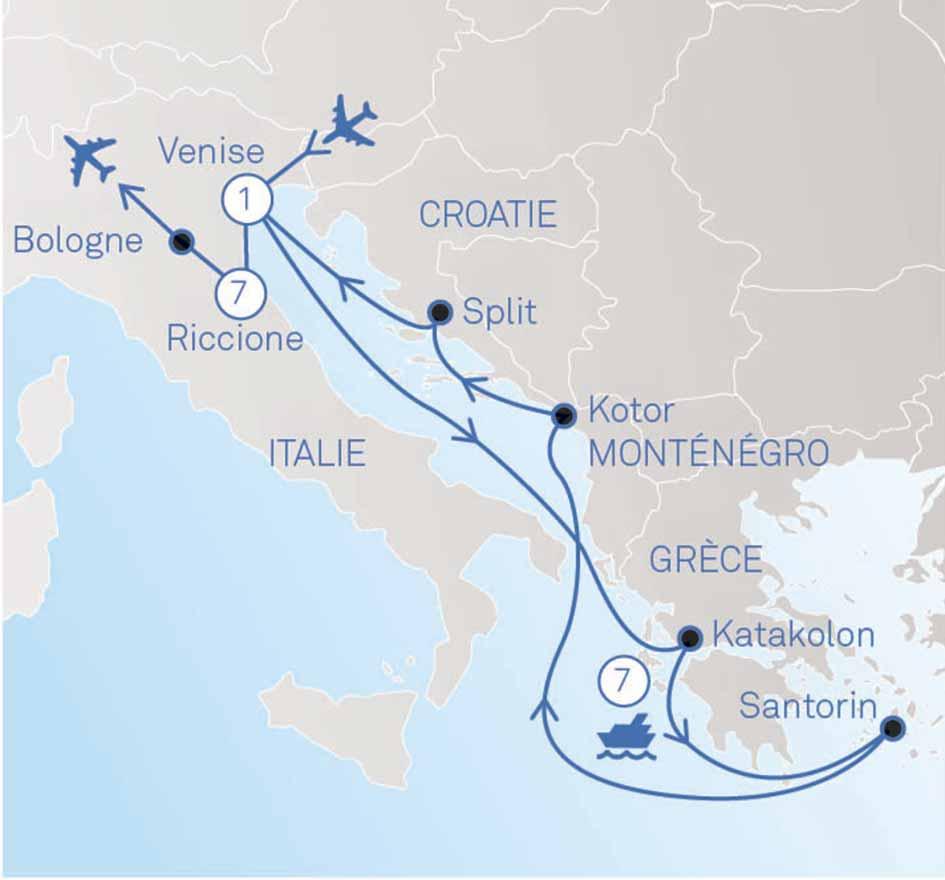 carte italie grèce croatie